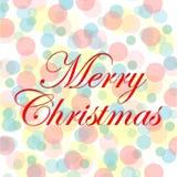 kortjul som greeting Glad jul som märker, vektorillustration med färgrik cirkelbakgrund Royaltyfri Illustrationer