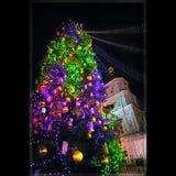 kortjul som greeting Julgran på den Sofievskaya fyrkanten, Kiev Jul sörjer trädet med garnering, röda bär Arkivfoto