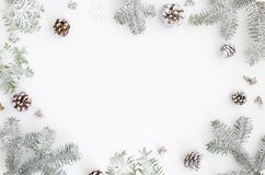 kortjul som greeting Julramgräns med kopieringsutrymme Noel festlig bakgrund nytt symbolår Granfilialer arkivbild