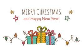 kortjul som greeting lyckligt glatt nytt år Arkivbilder