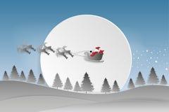 kortjul som greeting lyckligt glatt nytt år Santa Claus ri royaltyfri illustrationer