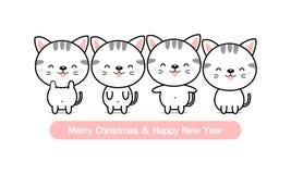 kortjul som greeting lyckligt glatt nytt ?r Gullig kattfamilj vektor illustrationer