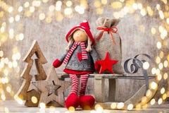 kortjul som greeting Noel gnombakgrund Julsymbol Arkivfoto