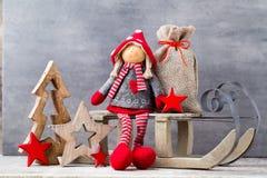 kortjul som greeting Noel gnombakgrund Julsymbol Arkivfoton
