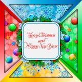 kortjul som greeting nytt år stock illustrationer
