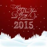 kortjul som greeting nytt år Glad jul och nytt Arkivbild