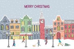 kortjul som greeting nytt år Hand dragen snöig stad stock illustrationer