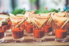 Kortkortsmörgåsar på såsexponeringsglas och suckulenter Royaltyfri Fotografi