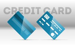 kortkreditering s Framdel- och baksidasikter Arkivfoton