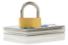 kortkrediteringspadlock Arkivbild