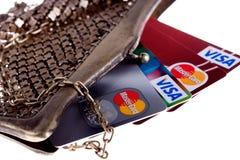 kortkrediteringsplånbok royaltyfria foton