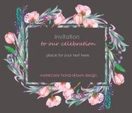 Kortmall med den blom- designen; bär, vårblommor och sidor som hand-dras i en vattenfärg; blom- garnering stock illustrationer