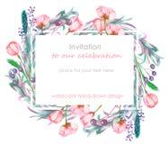 Kortmall med den blom- designen; bär, vårblommor och sidor som hand-dras i en vattenfärg; blom- garnering för en weddi Arkivfoton