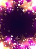 Kortmall med lyxiga guld- stjärnor och bokeh på violett bakgrund festlig modellvektor royaltyfri illustrationer