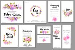 Kortmallar ställde in med lös rosbakgrund för den rosa och purpurfärgade vattenfärgen; konstnärlig design för affären, bröllop, å Royaltyfria Bilder