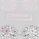 Kortmallen med den abstrakta liljan blommar vektorbakgrund Royaltyfria Foton