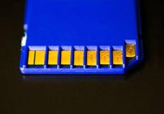 kortminne sd Blått är på bärbara datorn Fotografering för Bildbyråer