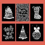 Kortsamling för typografisk jul och för nytt år Royaltyfria Foton