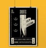 Kortslutningsfilmfestivalmall Modell för filmaffisch också vektor för coreldrawillustration royaltyfri illustrationer