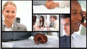 Kortslutningsgem av att arbeta för affärsfolk stock video