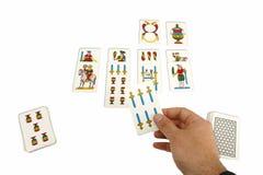 Kortspel med Neapolitan kort Royaltyfri Bild