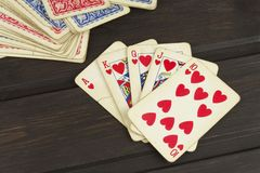 Kortspelpoker Den vinnande uppsättningen Kunglig personexponering i poker Royaltyfri Fotografi