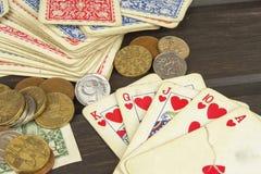 Kortspelpoker Den vinnande uppsättningen Kunglig personexponering i poker Royaltyfri Bild