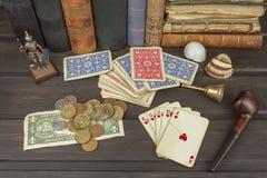 Kortspelpoker Den vinnande uppsättningen Kunglig personexponering i poker Arkivbilder