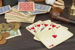 Kortspelpoker Den vinnande uppsättningen Kunglig personexponering i poker Arkivbild