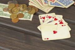Kortspelpoker Den vinnande uppsättningen Kunglig personexponering i poker Royaltyfria Bilder
