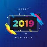Korttema 2019 för lyckligt nytt år Vektorbakgrundsram för textmodern konstdiagram för hipsters stock illustrationer
