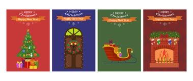 Kortuppsättning för nytt år cards jul fyra också vektor för coreldrawillustration Arkivfoton