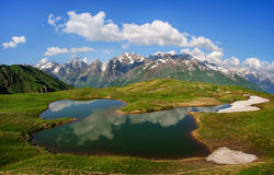 Koruldi mountain lake, Svaneti, Georgia. Stock Images
