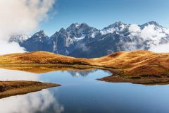 Koruldi mountain lake. Upper Svaneti, Georgia, Europe. Caucasus mountains. Royalty Free Stock Photos