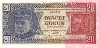 Milan Rastislav Stefanik. 20 Korun - Czechoslovakia in 1926. The banknote is viewed Gen. Dr. Milan Rastislav Stefanik. Banknote is in the form SPECIMEN stock photos