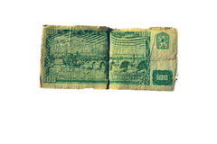 100 koruna λογαριασμός της Τσεχοσλοβακίας που απομονώνεται στο άσπρο υπόβαθρο Στοκ Εικόνες