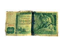 100 koruna λογαριασμός της Τσεχοσλοβακίας που απομονώνεται στο άσπρο υπόβαθρο Στοκ Εικόνα