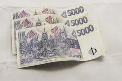 Koruny ceske. Various Czech money on the white background Stock Images