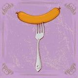 Korv på en gaffel Royaltyfri Foto