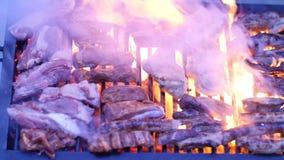 Korvar och paprika på grillfestgaller stock video