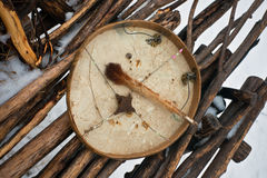 Koryak shaman drum used as a musical instrument. Stock Photos