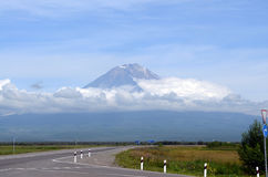 Koryak vulkan. Kamchatka Arkivfoton