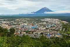 Koryakskaya Sopka and Petropavlovsk-Kamchatsky from Mishennaya hills Stock Photo