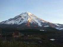 View of Koryaksky volcano in the morning. royalty free stock photos