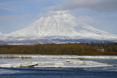 Koryaksky volcano of Kamchatka Peninsula. Stock Photos