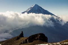 Koryaksky volcano on the Kamchatka Peninsula, Stock Image