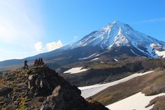 Koryaksky volcano on the Kamchatka Peninsula stock photography