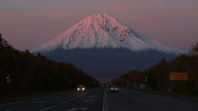 Koryaksky Volcano at sunset, road Petropavlovsk-Kamchatsky City - Elizovo City stock video footage