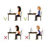 Koryguje posturę podczas gdy pracujący przy komputerem wektor Ilustracji