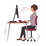 Koryguje siedzącą pozycję, biurowego biurka postura ilustracji